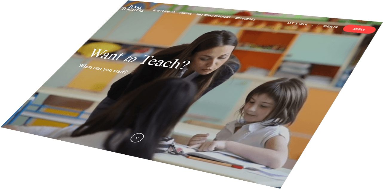 Texas Teachers responsive website design
