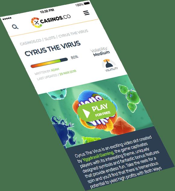 Casinos.co mobile version design